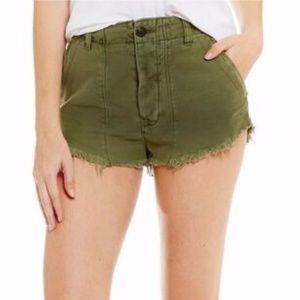 Free People Raw Hem Hi-Rise Patched Cut-Off Shorts